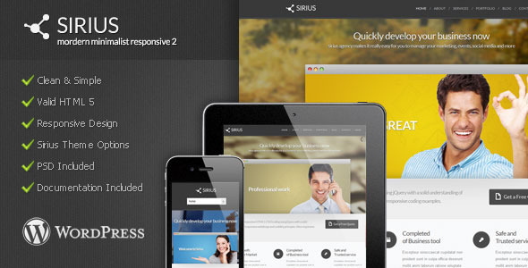 Sirius – Modern Minimalist WordPress Theme
