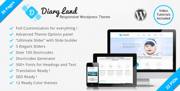 DiaryLand – Corporate WordPress Responsive Theme