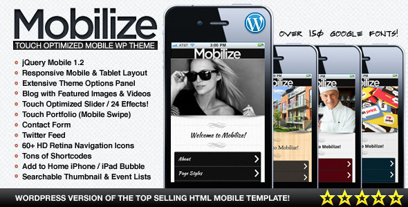 Mobilize – jQuery Mobile WordPress Theme