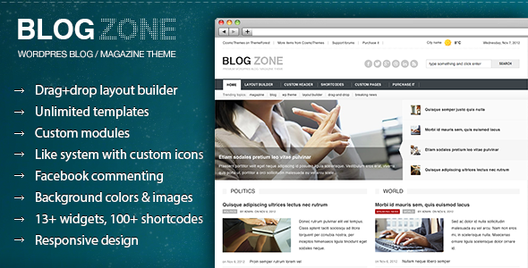 Blogzone – Drag-and-drop Builder Magazine Theme
