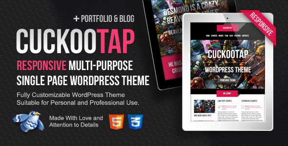 CuckooTap – Responsive Single Page WordPress Theme
