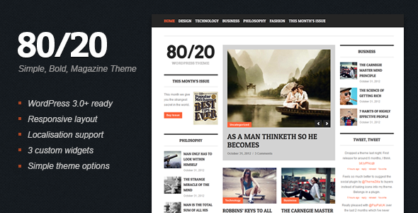 80/20 – WordPress Magazine Theme