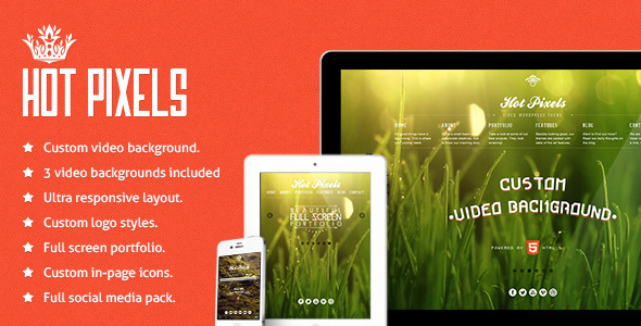 Hot Pixels – Video Background Portfolio WP Theme