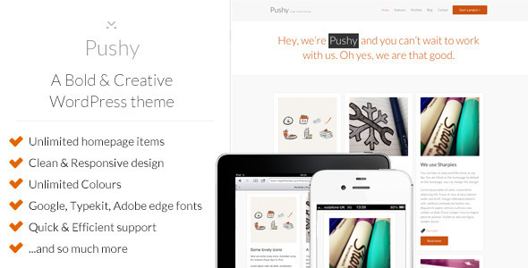 Pushy – A Bold & Creative Marketing WP theme