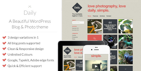 Daily – A Beautiful WordPress Blog & Photo theme