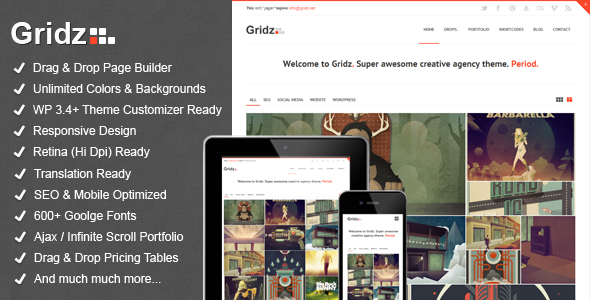 Gridz – Creative Agency Retina Ready WP Theme