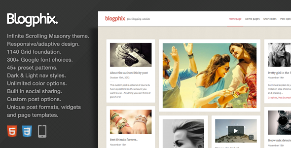Blogphix – An endless scrolling WordPress theme