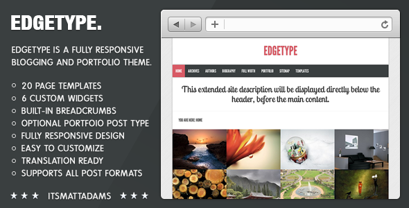 Edgetype Responsive Blog + Portfolio Theme