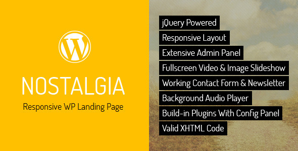 Nostalgia – Responsive WordPress Landing Page