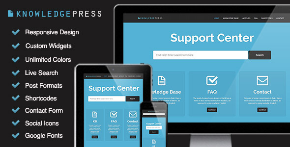 Responsive Knowledge Base & FAQ WordPress Theme