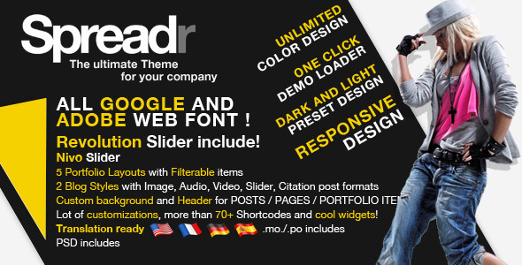 Spreadr – A Multipurpose Responsive WP Theme