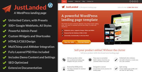 JustLanded – WordPress Landing Page