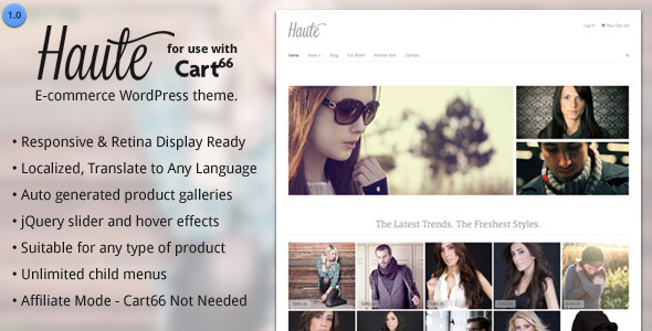 Haute – Ecommerce WordPress Theme for Cart66
