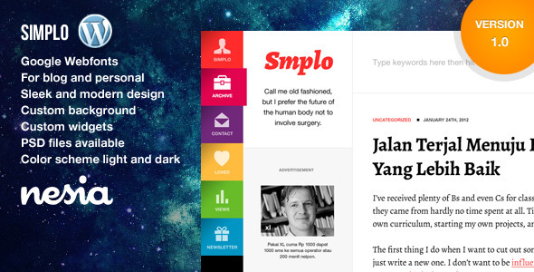 Simplo – Responsive WordPress Blog / Personal