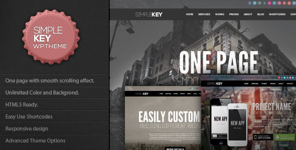 SimpleKey – One Page Portfolio WordPress Theme