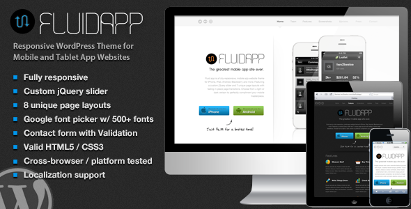 FluidApp – Responsive Mobile App WordPress Theme