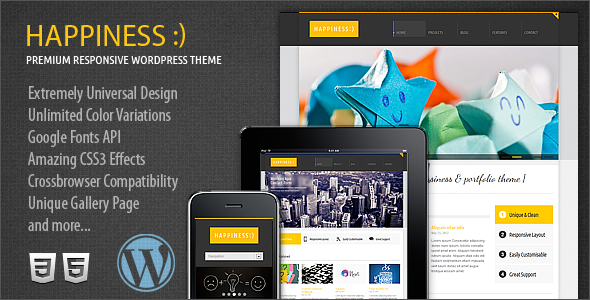 Happiness Premium Responsive WordPress Theme