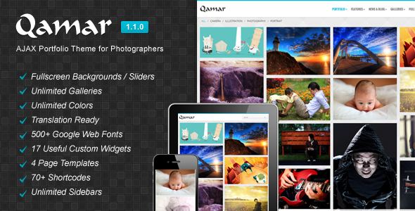 Qamar – AJAX Portfolio WP Theme for Photographers