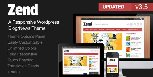 Zend – Responsive Blog/Magazine WordPress theme