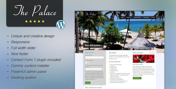The Palace – Hotel and Business WordPress Theme
