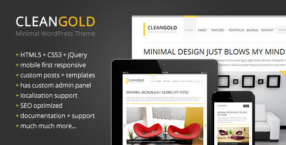 CleanGold – Minimal WordPress Theme