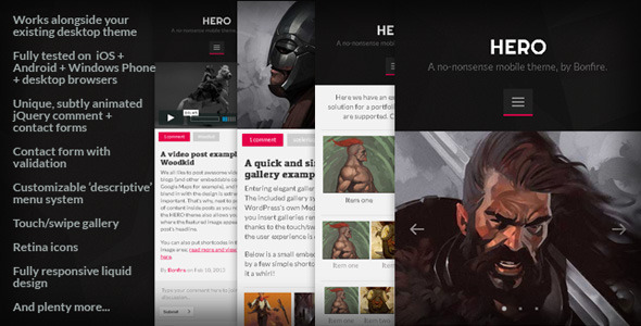 HERO – A no-nonsense mobile theme