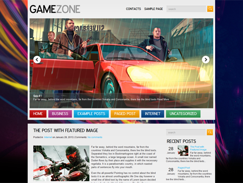 GTA V free wordpress theme: GameZone