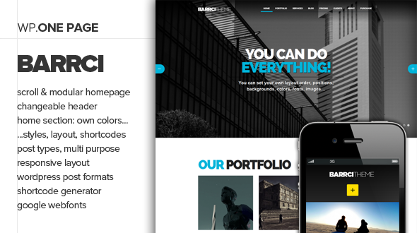 Barrci – Responsive One Page Photo & Portfolio