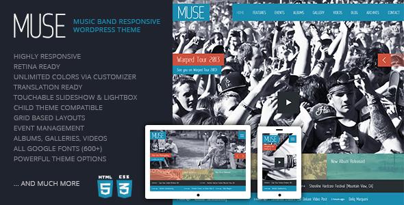 Muse: Music Band Responsive WordPress Theme