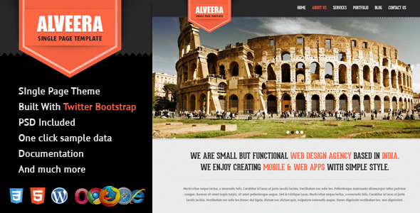 Alveera – Responsive HTML5 Single Page WordPress