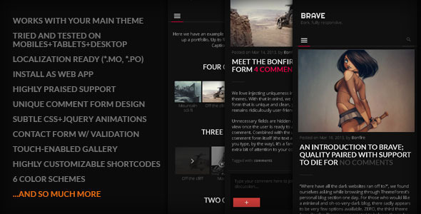 BRAVE: Dark, clean, fully responsive. By Bonfire.