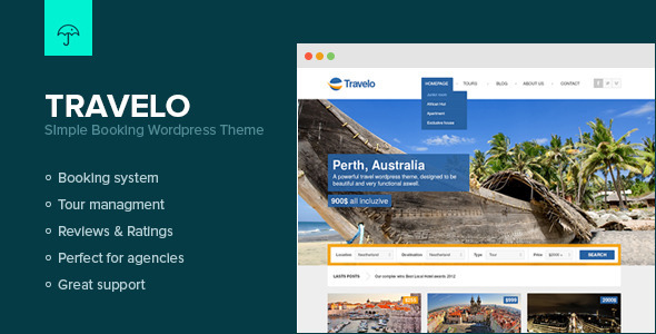 Travelo – Simple Booking WordPress Theme