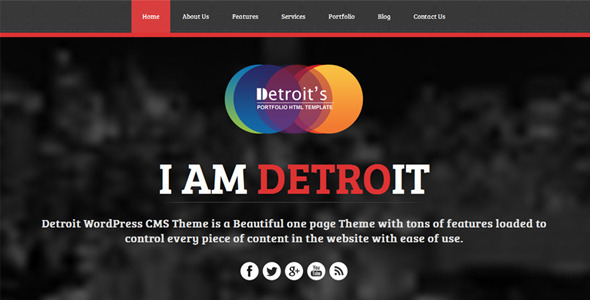 Detroit – Onepage Responsive WordPress CMS Theme