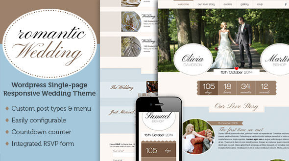 Romantic Wedding – one page responsive wedding theme