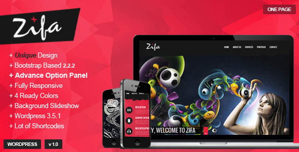 Zifa – Responsive WordPress OnePage Theme