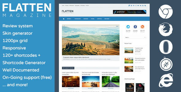 Flatten Magazine – Flat Responsive WordPress Theme