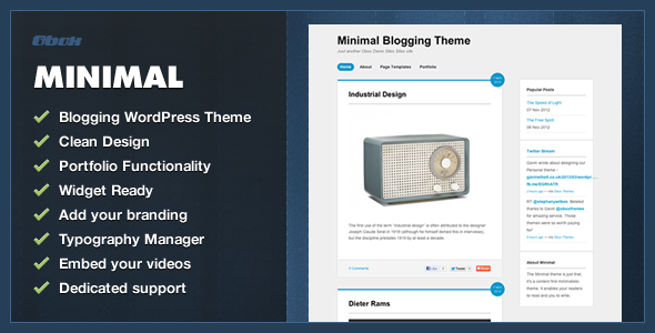 Minimal – WordPress Blogging Theme