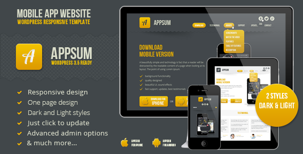 Appsum – wordpress responsive template
