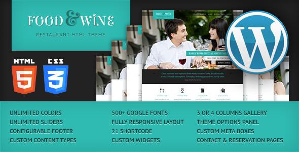 Food & Wine – Responsive WordPress Theme