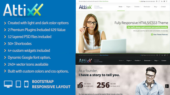 Attixx – Responsive Corporate WordPress Theme