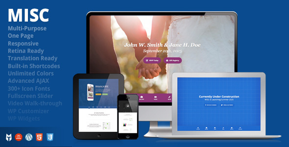 MISC – Multi-Purpose One-Page Responsive WP Theme
