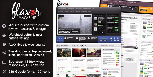 Flavor – Responsive/HD Magazine/Review AJAX Theme