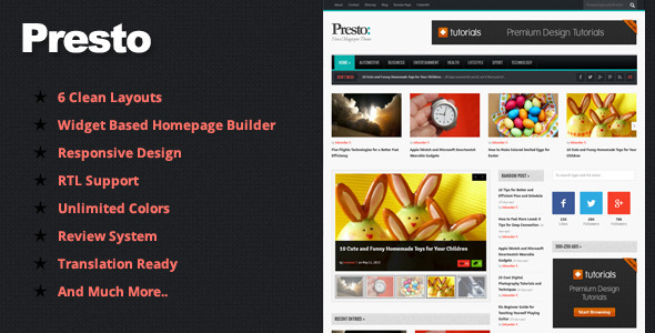Presto – Powerful Blog/Magazine WordPress Theme