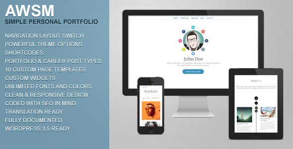 AWSM – Simple Personal Portfolio WordPress Theme