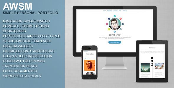 AWSM – Simple Personal Portfolio WordPress Theme