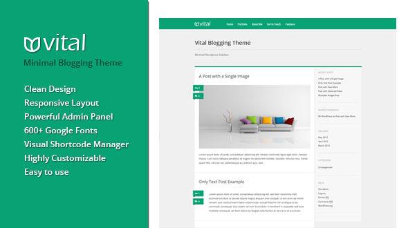 Vital | Minimal Blogging & Portfolio Theme