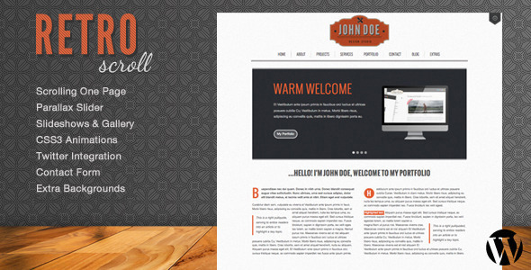 Retro Scroll – Creative One Page WordPress Theme