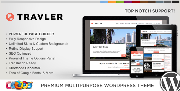 WP Travler Responsive Multipurpose WordPress Theme