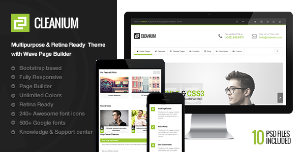 Cleanium – Responsive Multi-Purpose Retina Theme