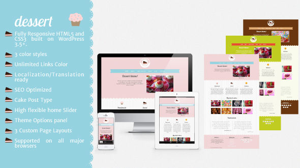 Dessert – Food Responsive WordPress Theme